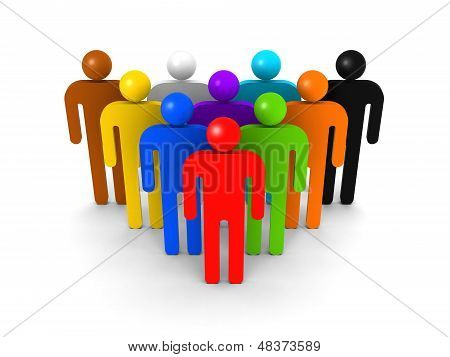 Colorful Group Of Schematic People On White Background With Soft Shadow. Crowd Metaphor, 3D Illustra