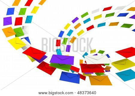 Colorful Envelopes Stream Isolated On White As A Metaphor Of Happy Chain Letters