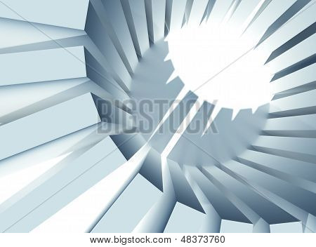 3D Abstract Architecture Background Illustration. Round Massive Of Boxes With Strong Illumination