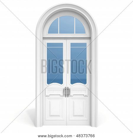 White Wooden Door With Reflected Glass Sections,  Isolated On White