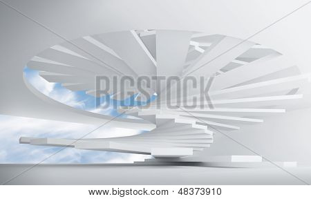 3D Illustration: White Abstract Architecture Interior With Spiral Stairs Installation