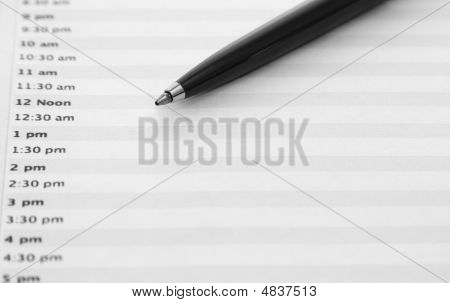 Daily Planner With Pen. Landscape Orientation.