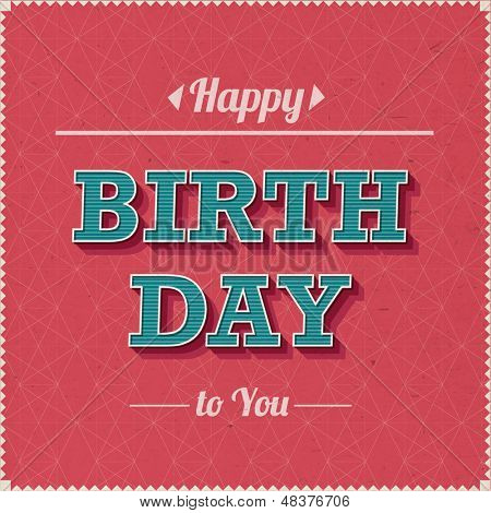 Vintage Happy Birthday Vector Card