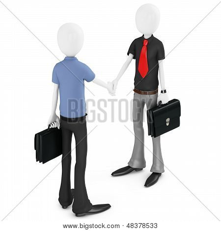 3D Business Man Making A Deal And Shaking Hands