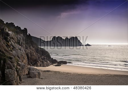 Porthcurno yellow sand beach before sunset Cornwall England