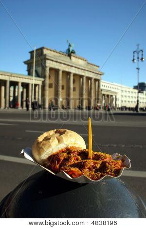 Berlin Currywurst And Brandenburg Gate