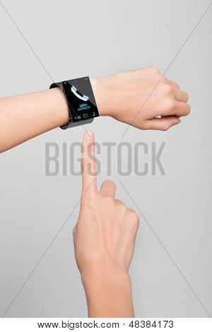 Female Wrist With A Modern Internet Smart Watch
