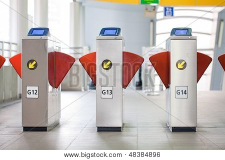 Modern turnstile on a skytrain
