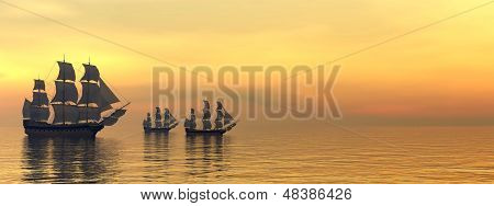 Old merchant ships - 3D Render