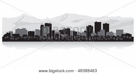 Anchorage City Skyline Silhouette
