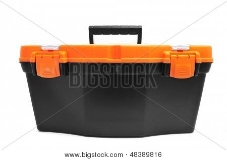 closeup of a plastic toolbox on a white background