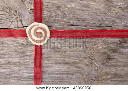 Red Ribbon On Wood