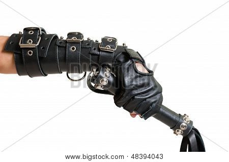 Hand In Leather Glove With Lash