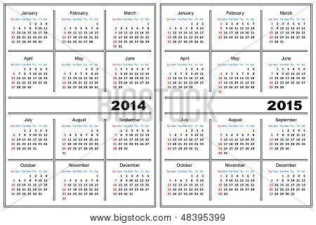 Kalendervorlage. 2014,2015