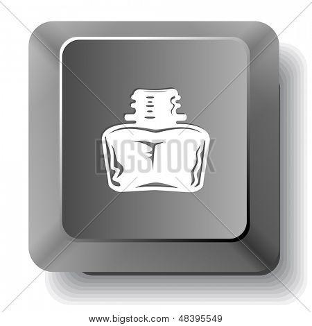 Inkstand. Vector computer key.