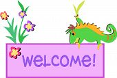 Here is a colorful Welcome Sign with friendly green Chameleon. poster