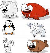 Animal cartoon cartoons polar arctic bear penguin mountain hare walrus blue fox fur seal mammal bird funny comic creaturedrawingvector seticonillustrationbeast animals wild poster