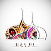 Muslim community festival Eid Al Fitr (Eid Muabrak) concept with floral decorated mosque design on abstract grey background.  poster