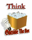3 Dimensional illustration for business logo or slogan. New ideas concept Think outside the box of old light bulbs vs. new energy saving light bulb. poster