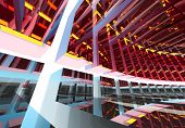 Abstract geometric colorful background pattern of turning futuristic tunnel with lights and reflections. 3d render illustration. poster