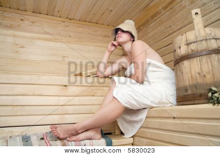 Young Woman Take A Steam Bath