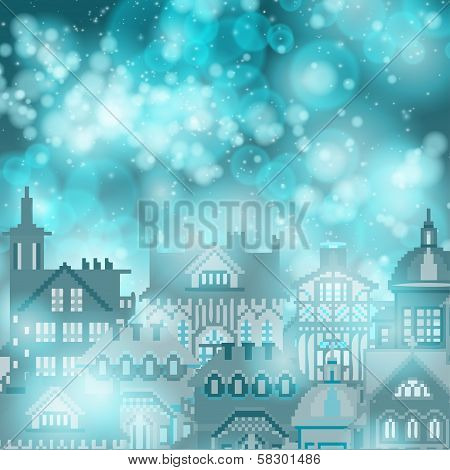 Lights on blue city  background bokeh effect.