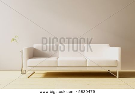 Couch on a blank wall