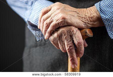 Closeup of senior woman's hands