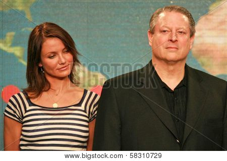Cameron Diaz and Al Gore at a press conference to Announce the Global Climate Crisis Campaign Concert
