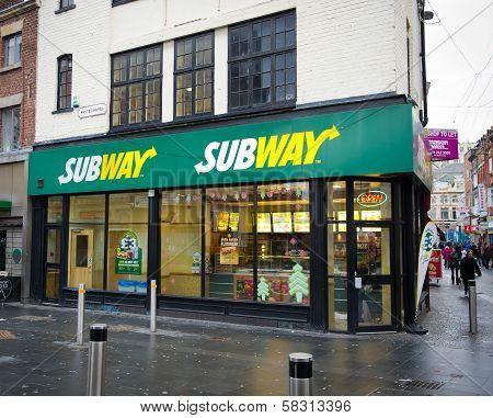 Subway fast food restaurant in Liverpool, UK