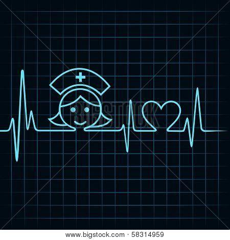 Heartbeat make nurse face and heart symbol