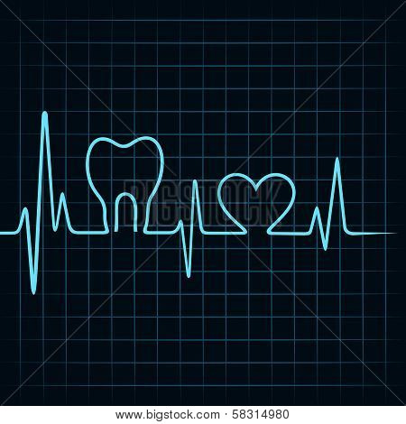 Heartbeat make a teeth and heart symbol
