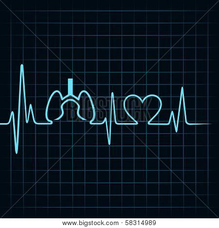 Heartbeat make lungs and heart symbol