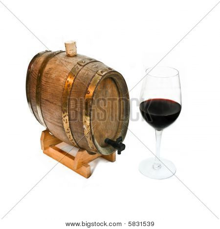 Red Wine In A Glass And Barrel