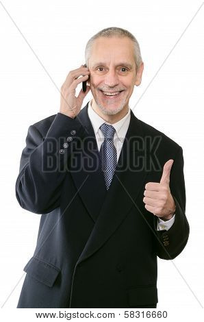 Smiling Thumb Up Businessman On Phone