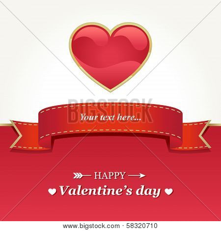 Valentine's day card with red heart and ribbon