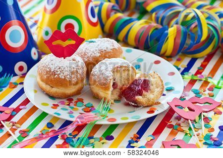 Fresh Beignets On Colorful Plate