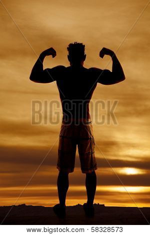 Silhouette Wet Man Muscles Flex Both Arms Up