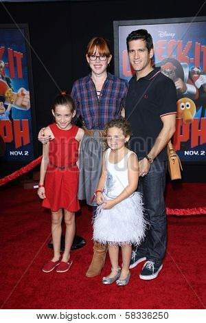 Molly Ringwald, husband Panio Gianopoulos, daughters Mathilda, Adele at the