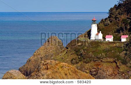 Close View Of Heceta Head Lighthouse On Oregon Coast