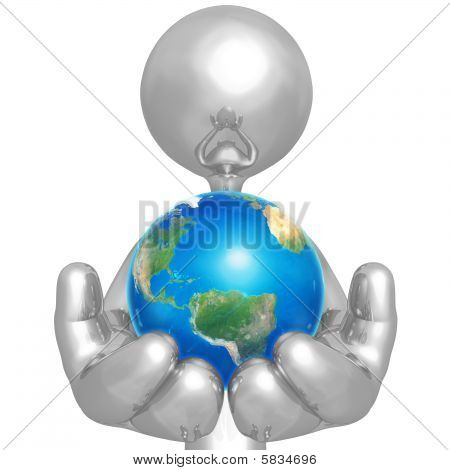 3D Character Holding The Earth