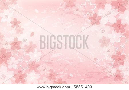 Pretty beautiful Shabby Chick Cherry blossom background. File contains Clipping mask Gradients Transparent Gradient Mesh. poster