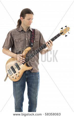 Bass Guitarist Playing A Bass Guitar