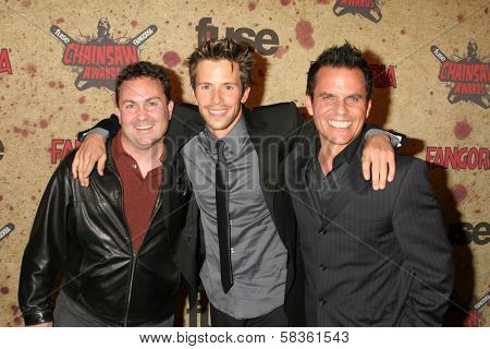 Philip Chidel with Christian Oliver and Dean Stapleton at the Fuse Fangoria Chainsaw Awards. Orpheum Theatre, Los Angeles, CA. 10-15-06