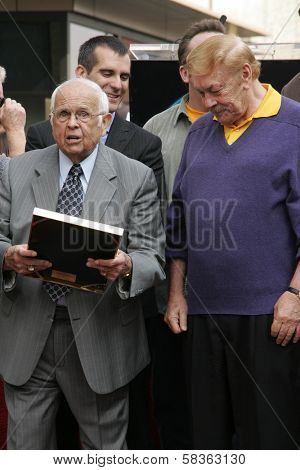 Johnny Grant and Jerry Buss at the Ceremony Honoring Los Angeles Lakers Owner Jerry Buss with the 2,323rd star on the Hollywood Walk of Fame. Hollywood Boulevard, Hollywood, CA. 10-30-06