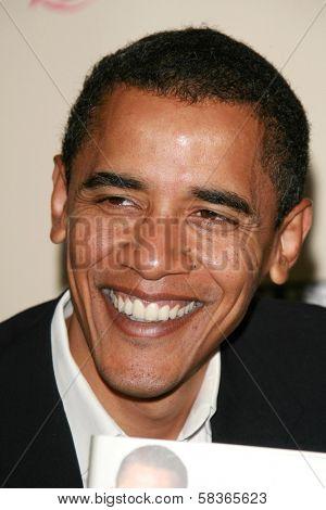 Barack Obama signing copies of his book