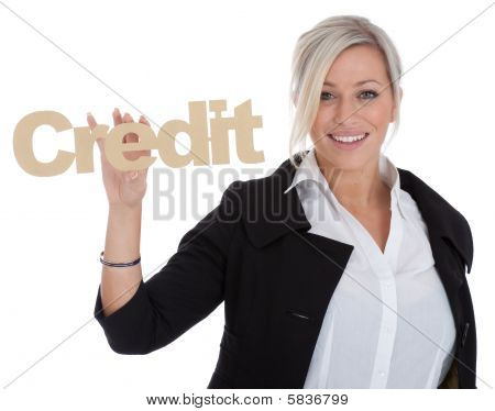 Beautiful Young Businesswoman Is Happy With Credit