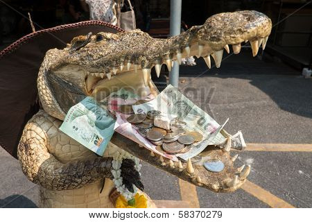 money in mouth of the crocodile (faithful) poster