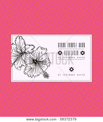 Vector vintage card with hibiscus flower