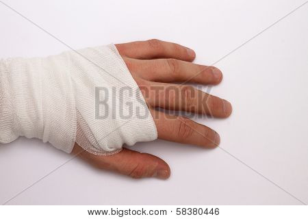 A bandaged hand after accident and injury poster